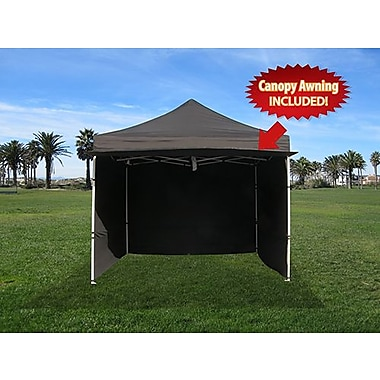 Impact Canopies Instant Pop Up Canopy Tent with Walls & Awning, 10x10, Black