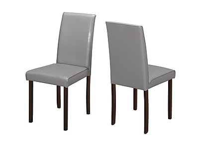 Monarch Specialties Grey Leather-Look 2Pcs Dining Chairs ( I 1173 )