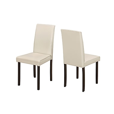 Monarch Ivory Leather-look Dining Chair, 2/Pack (I 1174)