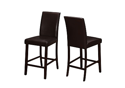 Monarch Specialties Brown Leather-Look 2pcs Counter Height Dining Chair ( I 1901 )
