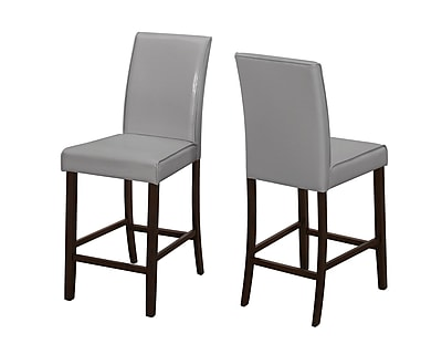 Monarch Specialties Grey Leather-Look 2Pcs Counter Height Dining Chair ( I 1902 )
