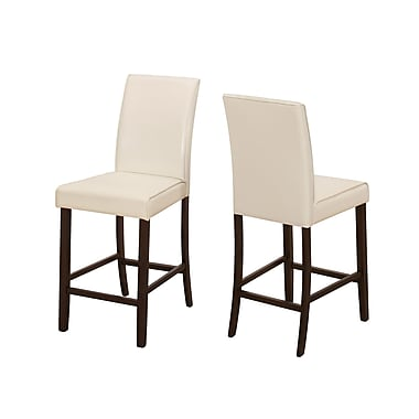 Monarch Specialties Ivory Leather-Look 2Pcs Counter Height Dining Chair ( I 1903 )