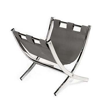 Monarch Magazine Rack, Grey Leather, Look Chrome Metal, (I 2037)