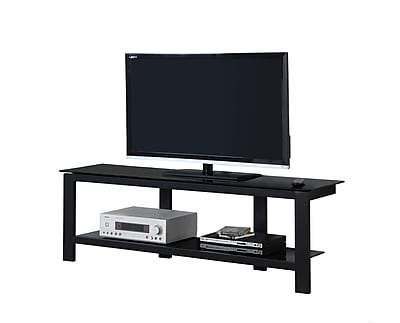 Monarch Specialties TV Stand Black Metal with Tempered Glass (I 2500)