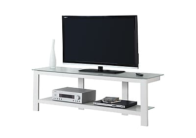 Monarch Specialties TV Stand White Metal with Tempered Glass (I 2510)