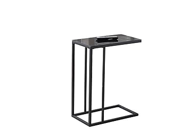 Monarch Specialties Accent Table In Black and Tempered Glas ( I 3087 )