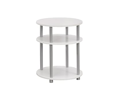 Monarch Specialties Accent Table In White With Silver Accents