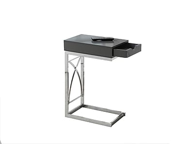 Monarch Specialties Accent Table In Chrome and Glossy Grey ( I 3171 )