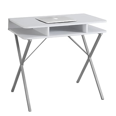 Monarch Computer Desk with a White Top and Silver Metal Legs