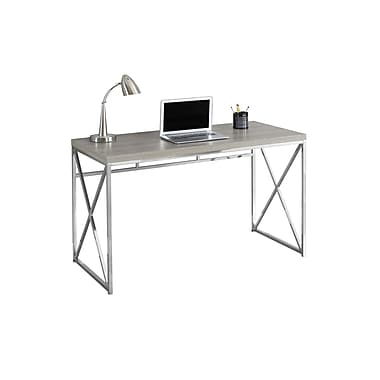 Monarch Computer Desk with a Dark Taupe Top and Chrome Metal Legs