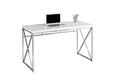 Compare Glossy White 48 Computer Desk W Chrome Metal