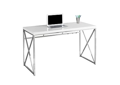 "Monarch Specialties Computer Desk 48""L Glossy White And Chrome Metal ( I 7205 ) by Monarch Specialties Inc."