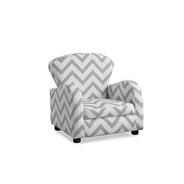 Monarch – Chaise d'appoint en tissu doux pour enfant, motif chevrons gris (18143)
