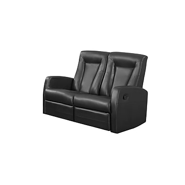 Monarch Reclining Bonded Leather Love Seat, Black (I 82bk-2)