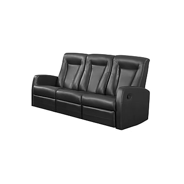 Monarch Reclining Bonded Leather Sofa, Black (82bk-3)