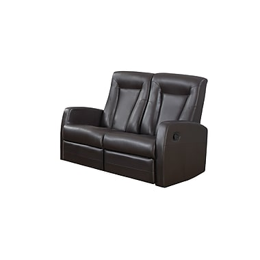 Monarch Reclining Bonded Leather Love Seat, Brown (I 82br-2)