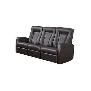 Monarch Reclining Bonded Leather Sofa, Brown (I 82br-3)