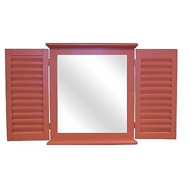 Hickory Manor House Coastal Shutter Wall Mirror; Coral