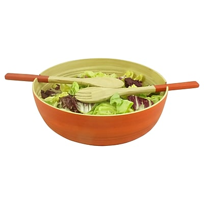 Circa Asia 3 Piece Round Bamboo Salad Bowl Set; Orange