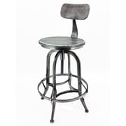 Vandue Corporation Arthur Adjustable Height Swivel Bar Stool; Vintage Pewter
