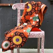 Filling Spaces Kantha Suzani Cotton Throw; Orange