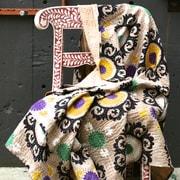 Filling Spaces Kantha Suzani Cotton Throw; Tan