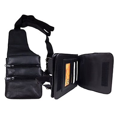 Sanmarc Cross Body Leather Bag with Multiple Zippered Compartments, Black, (OHBAGHOLSTER)