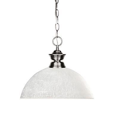 Z-Lite 100701BN-DWL14 Shark Island/Billiard, 1 Bulb, Dome White Linen Glass