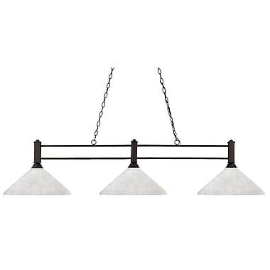 Z-Lite – Luminaire suspendu Challenger pour îlot/table de billard 127-3BRZ-AWL14, 3 amp., incl., verre lin blanc