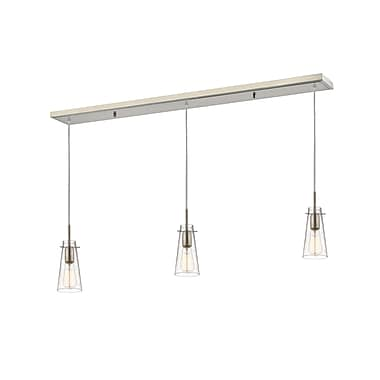 Z-Lite – Luminaire suspendu Monte 132MP-3BN pour îlot/table de billard, 3 amp., verre transparent à grains