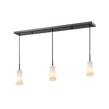 Z-Lite – Luminaire suspendu Monte 133MP-3BRZ pour îlot/table de billard, 3 amp., verre opale mat