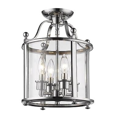 Z-Lite – Plafonnier semi-encastré Wyndham 134SFM, 4 ampoules, verre transparent