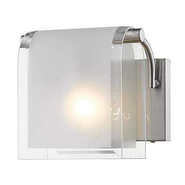 Z-Lite 169-1S-BN Zephyr Wall Sconce, 1 Bulb, Clear Beveled+Frosted Glass