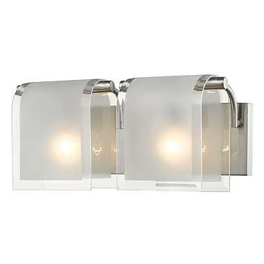 Z-Lite 169-2V-BN Zephyr Vanity, 2 Bulb, Clear Beveled+Frosted Glass