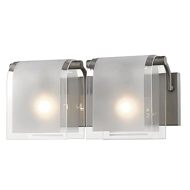 Z-Lite 169-2V-FB Zephyr Vanity, 2 Bulb, Clear Beveled+Frosted Glass