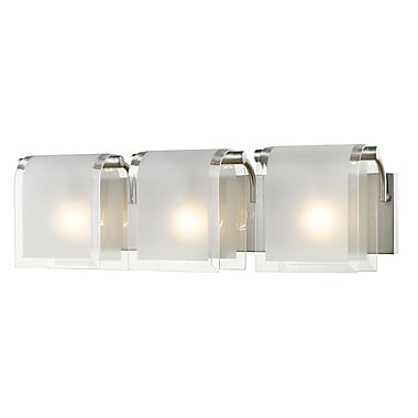 Z-Lite 169-3V-BN Zephyr Vanity, 3 Bulb, Clear Beveled+Frosted Glass