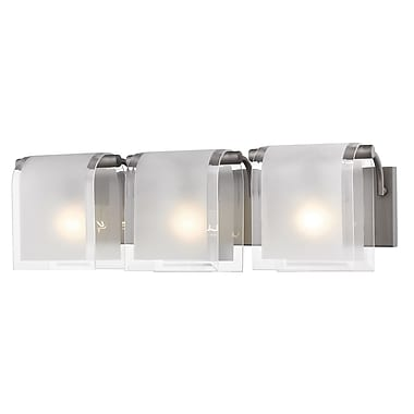 Z-Lite 169-3V-FB Zephyr Vanity, 3 Bulb, Clear Beveled+Frosted Glass