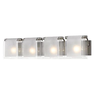 Z-Lite 169-4V-FB Zephyr Vanity, 4 Bulb, Clear Beveled+Frosted Glass
