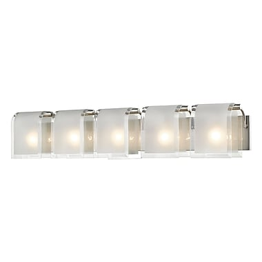 Z-Lite 169-5V-BN Zephyr Vanity, 5 Bulb, Clear Beveled+Frosted Glass