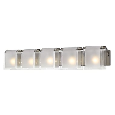 Z-Lite 169-5V-FB Zephyr Vanity, 5 Bulb, Clear Beveled+Frosted Glass