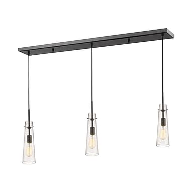 Z-Lite – Luminaire Monte 188MP-3BRZ pour îlot/table de billard, 3 ampoules, verre à grains transparent
