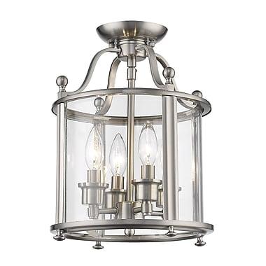 Z-Lite 191SFM Wyndham Semi Flush Mount, 4 Bulb, Clear Glass