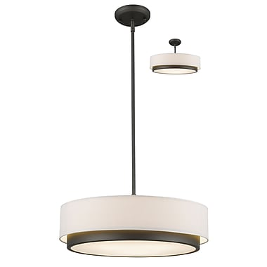 Z-Lite – Luminaire suspendu Jade 196-22, 3 ampoules, tissu blanc