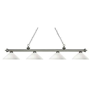 Z-Lite 200-4AS-AMO14 Riviera Antique Silver Island/Billiard, 4 Bulb, Angle Matte Opal Glass