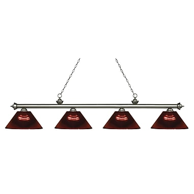 Z-Lite 200-4AS-ARBG Riviera Antique Silver Island/Billiard, 4 Bulb, Burgundy Acrylic