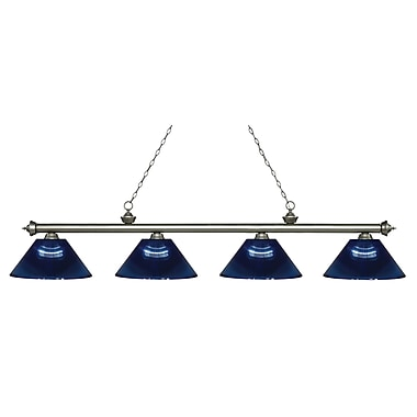 Z-Lite 200-4AS-ARDB Riviera Antique Silver Island/Billiard, 4 Bulb, Dark Blue Acrylic