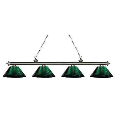 Z-Lite 200-4AS-ARG Riviera Antique Silver Island/Billiard, 4 Bulb, Green Acrylic