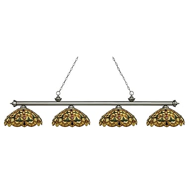 Z-Lite 200-4AS-C14 Riviera Antique Silver Island/Billiard, 4 Bulb, Multi-Coloured Tiffany Glass