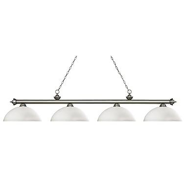 Z-Lite – Luminaire Riviera argenté antique pour îlot/table de billard 200-4AS-DMO14, 4 ampoules, dôme, verre opale mat