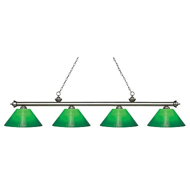 Z-Lite 200-4AS-GCG14 Riviera Antique Silver Island/Billiard, 4 Bulb, Green Cased Glass
